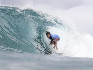Kanoa Igarashi winning Heat 12 of Round Two of the Billabong Pipe Masters Image: © WSL /  Cestari