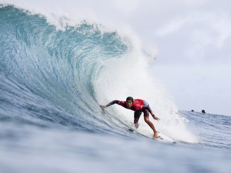 Kanoa Igarashi winning Heat 4 of Round Four of the Billabong Pipe Masters at Pipeine, Oahu, Hawaii.