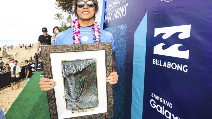Kanoa Igarashi is the 2016 Billabong Pipe Masters runner-up.
