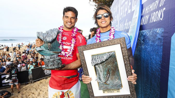 Michel Bourez and Kanoa Igarashi the Billabong Pipe Masters winner and runner-up.