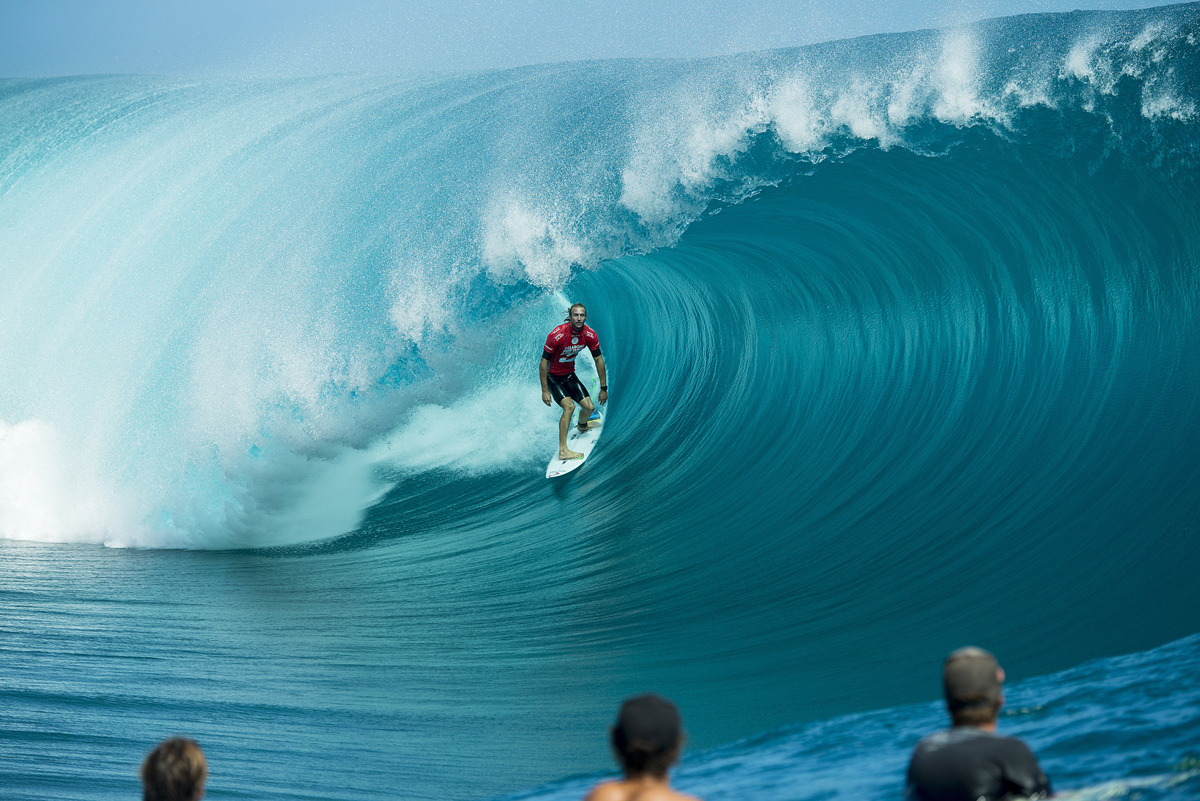 Owen Wright (AUS) taking on one of the waves of the day at the 2014 Billabong Pro Tahiti Pic: WSL/Will H-S