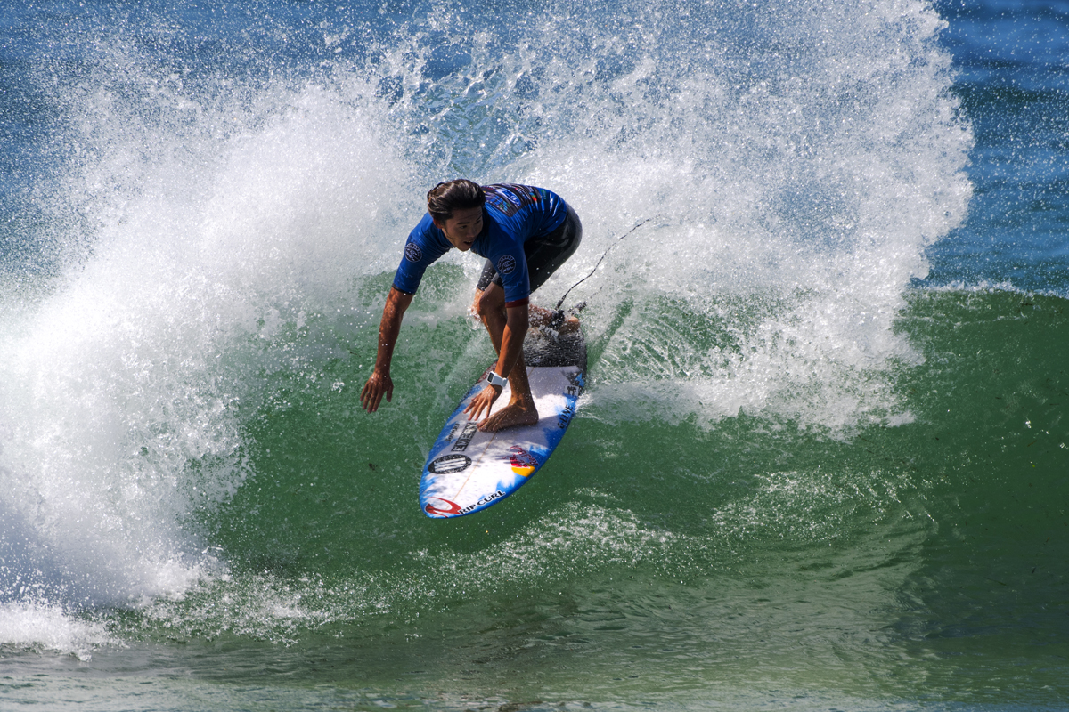 Hiroto Arai won his Round 1 Heat at the Maitland and Port Stephens Toyota Pro at Merewether Beach
