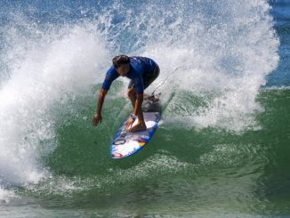 Hiroto Arai won his Round 1 Heat at the Maitland and Port Stephens Toyota Pro at Merewether Beach WSL / Tom Bennett