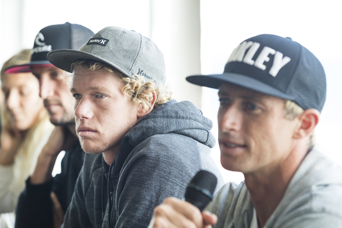 John John Florence of Hawaii in attendance at the Drug Aware Margaret River Pro press session answering questions and telling of his excitement about surfing the event with the various breaks and waves on offer in the region.