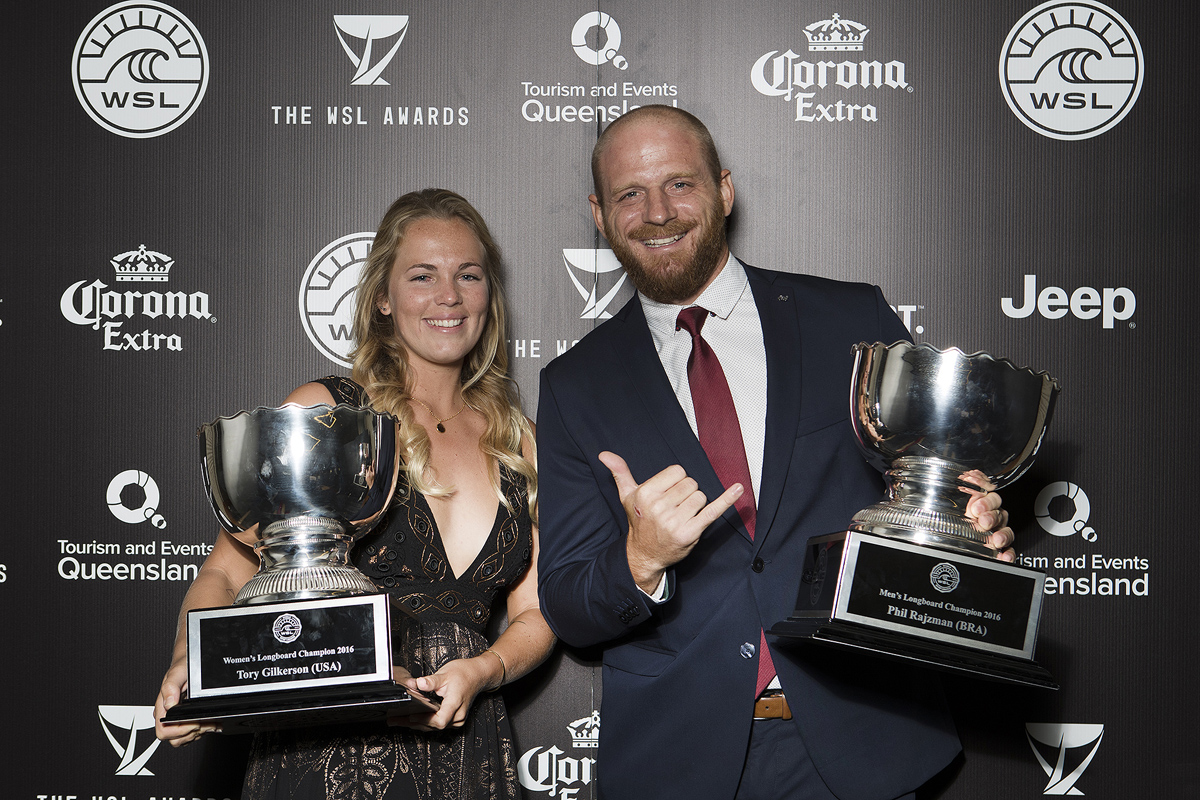 Phil Rajzman and Tory Gilkerson - 2016 Men's and Women's © WSL / CestariLongboard Champion.