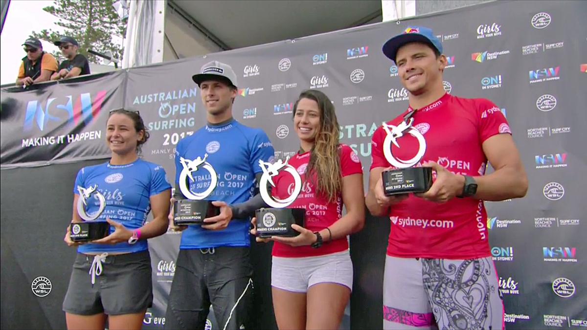 優勝したメンデス、2位のジュリアン、女子優勝のマリア・マニュエル