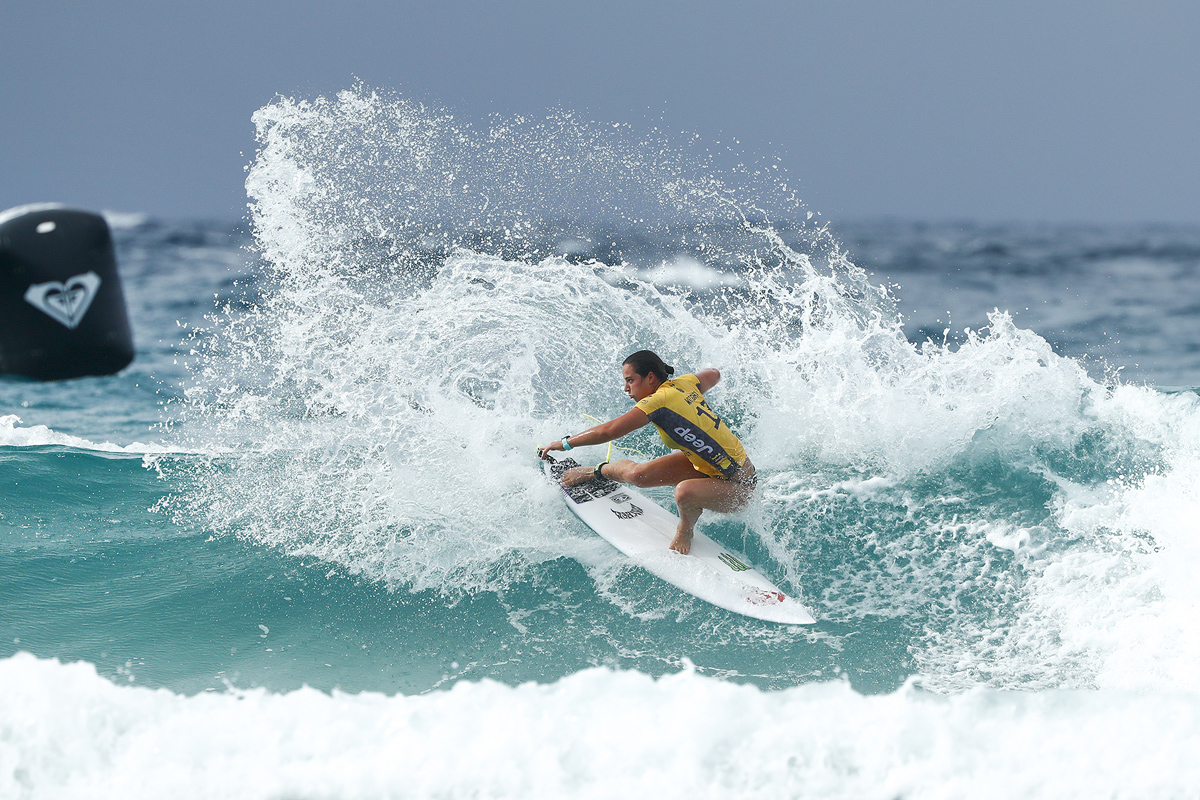 Current WSL Women's World Champion Tyler Wright of Australia placed second in Heat 3 of Round One at the Roxy Pro Gold Coast, Australia.Credit : © WSL / Sloane