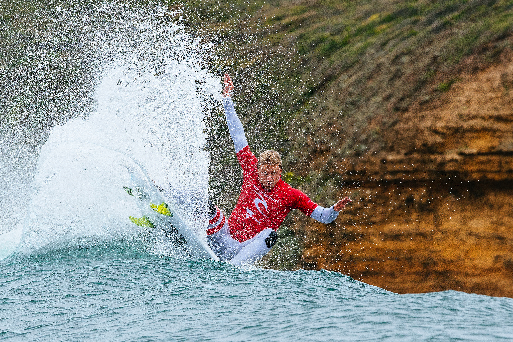 Kolohe Andino of USA won his Round One heat at the Rip Curl Pro, Bells Beach.