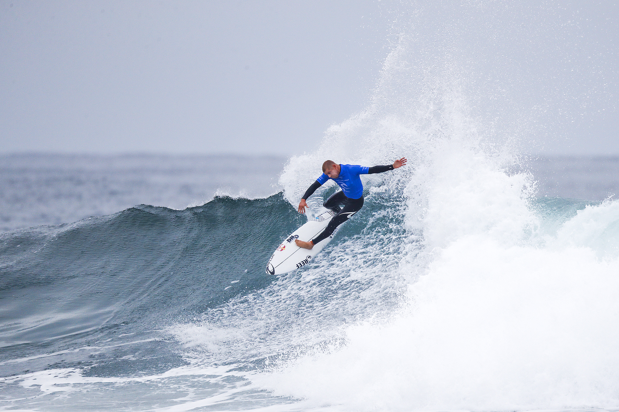 Mick Fanning of Australia placed second in Heat 1 of Round One at the Rip Curl Pro Bells Beach.