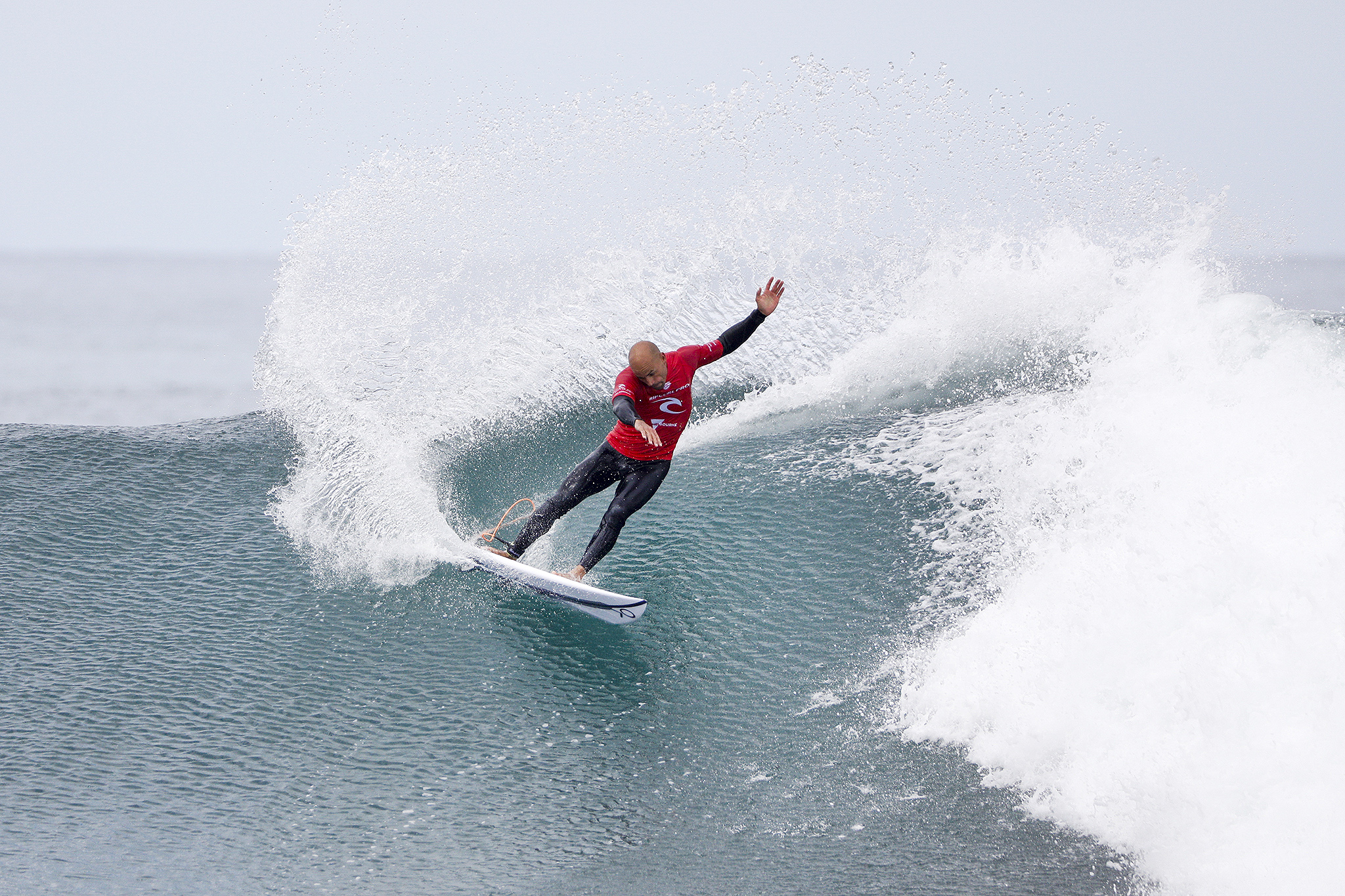 11X World Champion Kelly Slater of the USA advanced directly to Round Three after winning Heat 8 of Round One at the Rip Curl Pro Bells Beach after moving to Winkipop.