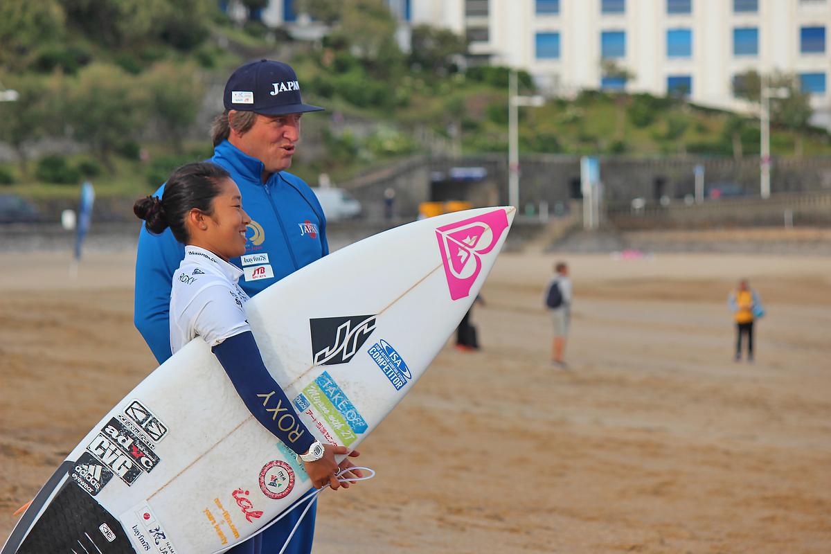 大村奈央とコーチのウェード・シャープ photo:michiko nagashima