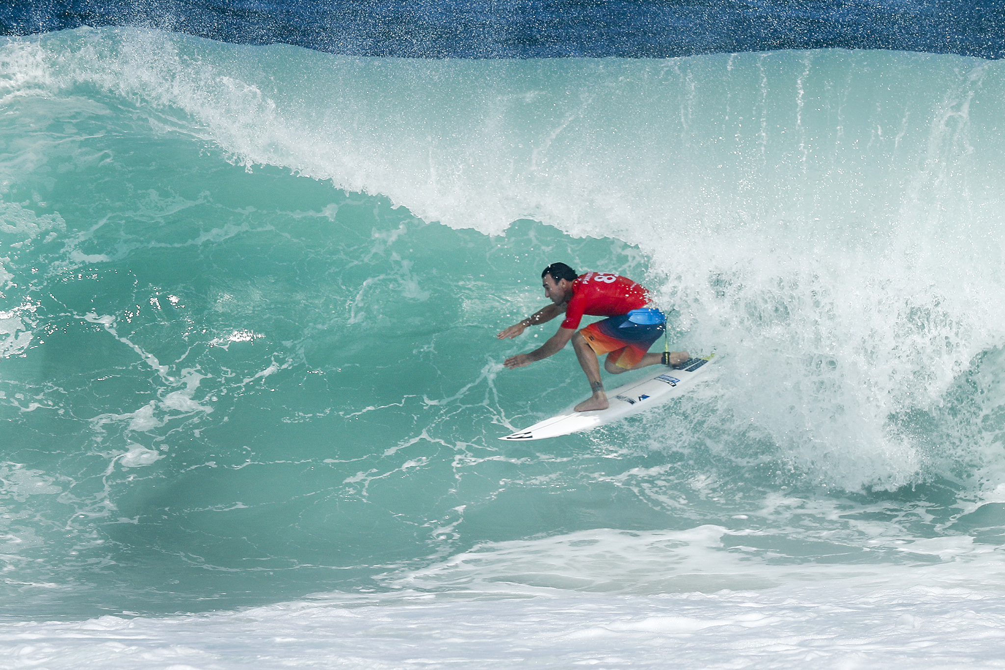 Joel Parkinson of Australia advances directly to Round Three after winning Heat 9 of Round One at the Oi Rio Pro at Saquarema, Rio de Janeiro, Brazil.