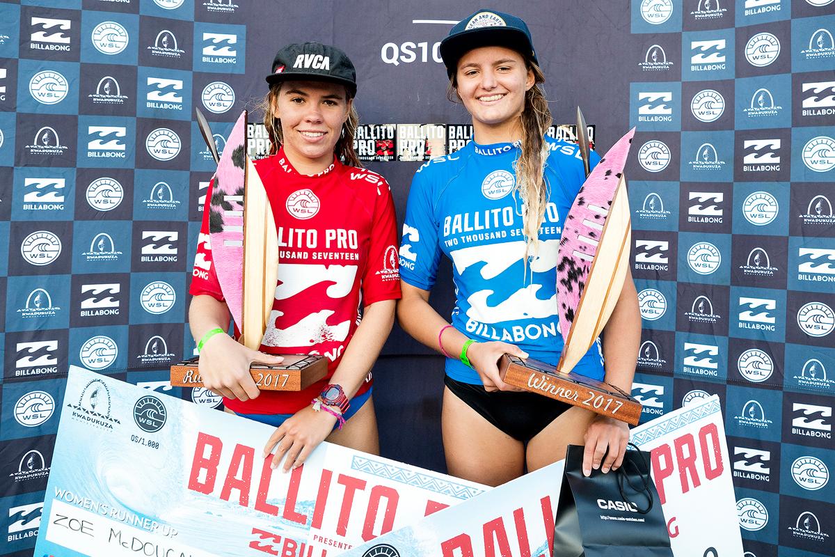 優勝したソフィアと2位のゾーイ。PHOTO: © WSL / Cestari