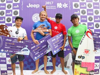The four finalists of the Jeep International Hainan Open from left to right: Kei Kobayashi (USA), Charly Martin (FRA) Rio Waida (IDN) and Samuel Pupo (BRA).(C) WSL / Tim Hain