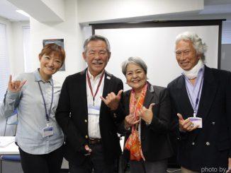 一般社団法人日本障害者サーフィン協会。左から理事の和田路子氏、代表理事の阿出川輝雄氏、理事の阿出川百合子氏と片桐茂氏