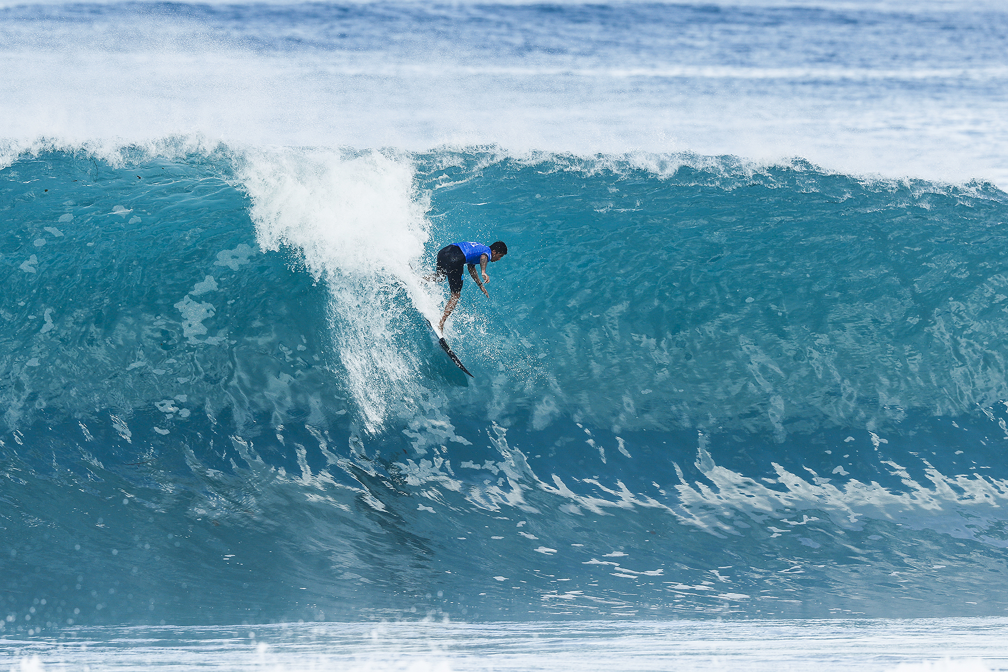 Miguel Pupo of Brazil advances directly to Round Three of the 2017 Billabong Pipe Masters after winning Heat 5 of Round One at Pipe, Oahu, Hawaii, USA. Pupo caused an upset in Round One when he defeated World No.2 Gabriel Medina (BRA).