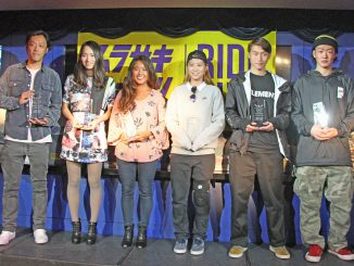 今回表彰されたムラサキスポーツ所属のライダー6名。左から近藤 義忠、永井那旺、田岡なつみ、西村 碧莉、佐川 涼、大久保勇利