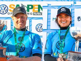 男女優勝者のジャクソンとブリーサ・ヘネシーWSL / Ian Thurtell