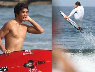 報道陣の前でサーフィンを披露したカノア。