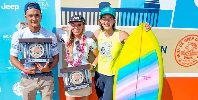 優勝したハワイの3名。バロン・マミヤ、ゾーイ・マクドゥーガル、ホノルア・ブルームフィールド