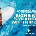 2度のWSL世界チャンピオンであるガブリエル・メディーナがリップカールと5年間の契約更新にサイン