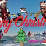 サーフィン・サンタからのメリークリスマス。ハッピーサーフィン!ハッピーホリデー!メリークリスマス!