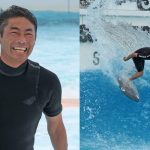 今年2月に大腸がん手術を受けたプロサーファーの小川直久が、息子と笑顔で「静波サーフスタジアム」に初挑戦